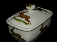BN Running Hares Fine Bone China Butter dish, Uk Made China, Great Hare Gift,