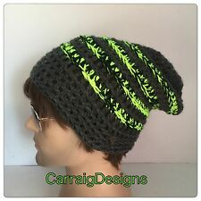 HANDMADE Grey neon Mans men slouch dread tam hat hippie knitted beanie crochet