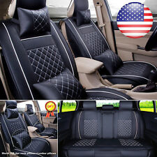 US L Size 5-Seats PU Leather SUV Sedan Seat Cover Front+Rear +Neck Lumbar Pillow