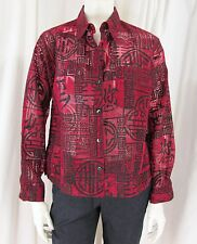 Chico's size 1 (M) Red w/ Black Asian Design Long Sleeve Button Front Shirt