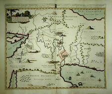 1700 Pierre Mortier Map Middle East GARDEN OF EDEN Superb Biblical Vignettes!