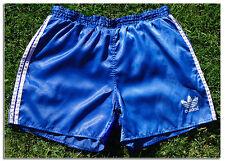 Satén Sedoso brillante Rara De Nylon Azul Vintage Adidas Deportes Pantalones Cortos Glanz XS 30
