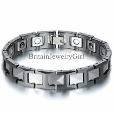 12MM Silver Ceramic Black Tungsten Carbide Magnetic Men Linking Bracelet 8.3""