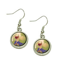 Wine Glass and Grapes Dangling Drop Charm Earrings