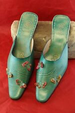 Unused Vintage Alfredo Versace Green Mexican Style Slip on Low Heel Shoes Size 9