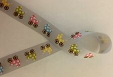 Baby Carriage Buggy 5/8 Grosgrain Ribbon for hair bows crafts sewing 3 yards
