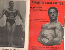 Joe Weider A MASSIVE CHEST FOR YOU bodybuilding muscle ORIGINAL booklet 1957
