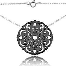 Open Work Circle Black Rhodium & Sterling Silver Necklace. 45cm Chain Included.