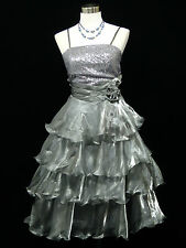 Cherlone Grey Prom Ball Evening Wedding Knee Length Bridesmaid Dress Size 12-14
