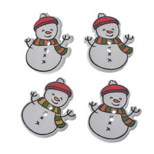 BD 30PCs Christmas Snowman Shaped 2 Holes Wooden Buttons Sewing DIY Scrapbooking