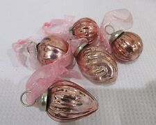 VINTAGE KUGEL STYLE ROSE PINK GLASS MINIATURE CHRISTMAS ORNAMENTS #160