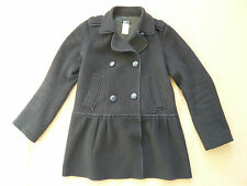 Navy double breasted wool coat with peplum by Sonia Rykiel. VGC. Size 8.