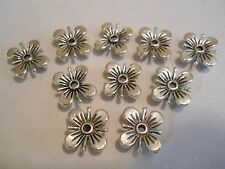 10 SILVER PLATED SQUARE FLOWER DESIGNER TIBETAN 2 HOLE SLIDER SPACER BEAD BAR
