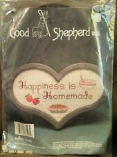 """Vintage DMC Floss Good Shepherd Counted Cross Stitch kit """"Happiness is Homemade"""""""