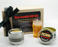 Unusual Gift for Men Set Man Candles for Men Petrol, Tyre Beer Scented candles