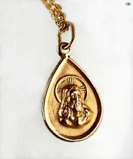 Mexican 8K Yellow Gold Chain Necklace-Pendant with High Relief of Jesus Christ