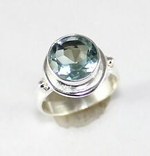 FACETED SOLITAIRE GREEN APATITE 925 STERLING SILVER RING SIZE 7