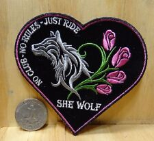 "LADY BIKER - SHE WOLF IRON-ON / SEW-ON EMBROIDERED PATCH BIKER / DECOR 3.5""x3.5"""