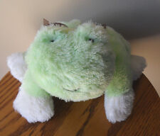 """9"""" Carters White & Green Shiny FROG Floppy Brown Bow Bean Stuffed Plush Baby Toy"""