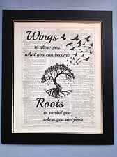 Tree Of Life Wings What You Can..Roots gift Idea Antique Dictionary Page Art #56