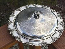 "Silverplate Covered Dish Old English Reproduction 13 1/2"" VINTAGE Pattern Grapes"