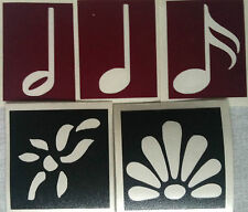 5 Self Adhesive Music Notes & Floral Design Stencils for Body Art or Crafts