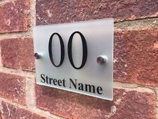 MODERN DOOR NUMBER / ADDRESS PLAQUE GLASS ACRYLIC FROSTED OUTDOOR HOUSE SIGN
