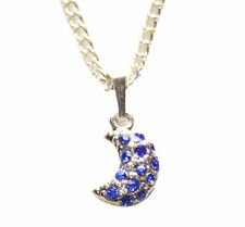 Electric Blue Diamanté Half Moon Pendant/chrome Chain Metal Necklace(Zx153)