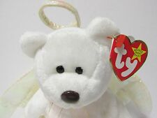 """Ty Beanie Baby  """"Halo"""" the White Wing Angel Bear PRISTINE Brand New w/Mint Tags"""