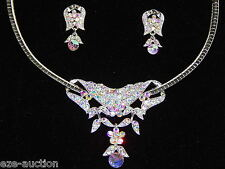 Bridal AB Rhinestone 2 In 1 Silver Choker Necklace/Pendant & Earrings Set /15435