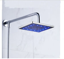 "Chrome LED Square 8"" Rain Shower Head Shower Arm Hose Wall Mounted Sprayer"
