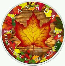 CANADA 2016 MAPLE LEAF AUTUMN 1 Oz SILVER COLOR COLORED MINTAGE 100 PCS BOX COA
