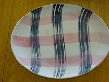 Vintage Stetson China Mid Cent Pink Gray Retro Oval Dish Platter PERFECT