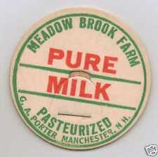MILK BOTTLE CAP. MEADOW BROOK FARM. MANCHESTER, NH. DAIRY