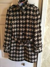 JONES NEW YORK WOOL HOUNDS TOOTH BUTTON DOWN BELTED COAT SIZE 10