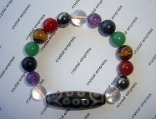 Feng Shui - 21 Eye Dzi with 7 Chakra Charm Bracelet (8mm beads)