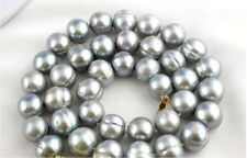 """surprising 18"""" AAA 12-13mm tahitian baroque gray pearl necklace 14k"""
