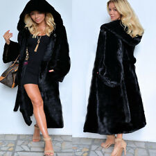Womens Full Length Pure Black Hooded Parka Faux Fur Peacoats Coats Outwears J94