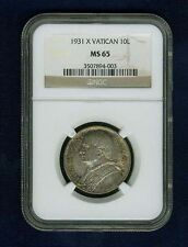 VATICAN CITY POPE PIUS XI  1931 YR. X  10 LIRE SILVER COIN, CERTIFIED NGC MS-65!