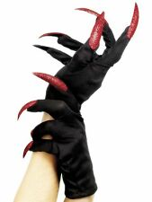 Ladies Black Fancy Dress Halloween Gloves With Red Devil False Fake Nails 25217