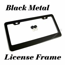 1PC BLACK STAINLESS STEEL METAL LICENSE PLATE FRAME + SCREW CAPS TAG COVER / BF