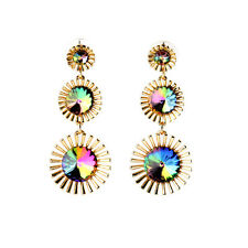 Colorful Rainbow Rhinestone Blooming Flower Drop Earrings For Lady Bling Jewelry