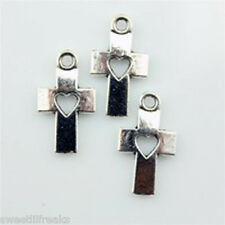 20 TIBETAN SILVER CROSS WITH CUTOUT HEART CHARMS! DIA DE LOS MUERTOS GOTHIC