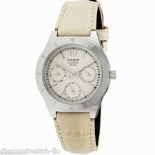 Casio LTP2069L-7A1 Ladies Beige Genuine Leather Dress Watch 50M NEW Silver Dial