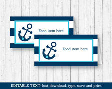 Nautical Anchor Buffet Tent Cards & Place Cards Editable PDF