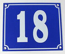 """Aluminium Hausnummer """"18"""" 12x10cm blau Hausnummernschild sofort lieferbar Schild"""