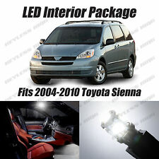 19pcs LED White Lights Interior License Package Kit For Toyota Sienna 2004-2010