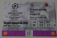 Ticket for collectors CL Bayern Munchen - Arsenal FC 2001 Germany England