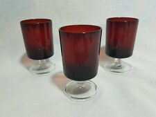 Vintage 1970s French Luminarc ruby red wine sherry port glasses goblets X 3