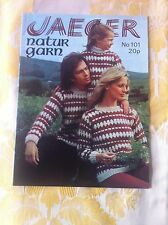 Vintage JAEGER natur garn knitting pattern book 101 men women children 7sweaters